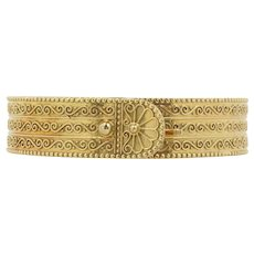 Vintage Zolotas 18K Gold Buckle Bangle Bracelet