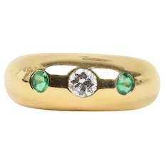 Vintage Cartier 18K Gold Diamond and Emerald Gypsy Ring