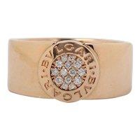 Bvlgari Logo 18K Rose Gold and Diamond Cigar Band Ring
