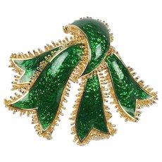 Vintage David Webb 18K Gold and Green Enamel Ribbon Brooch