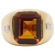 Vintage H. Stern Heavy 18K Gold Citrine and Diamond Unisex Ring