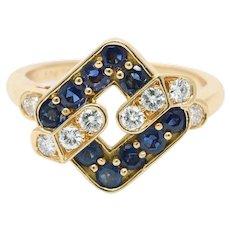 Vintage Mauboussin Sapphire and Diamond Geometric 18K Gold Ring