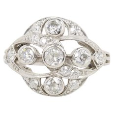 Vintage Art Deco 1.1 Carat Old Cut Diamond Platinum Cluster Swirl Ring