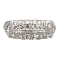 Vintage 14K White Gold Two Row Diamond Band Ring