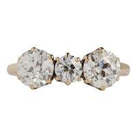 Victorian William Wise & Son 2 Carats Three Diamond OMC 14K Gold Ring