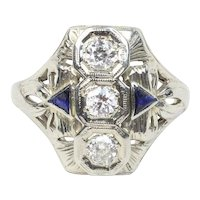 Art Deco 18K White Gold Three Diamond and Sapphire Navette Filigree Ring