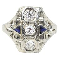 Art Deco 18K White Gold Three Diamond and Sapphire Navette Filigree Ring