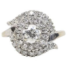 Vintage Diamond Cluster 14K White Gold Cocktail Engagement Ring