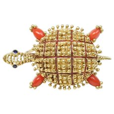 Vintage Italian 18K Gold Coral Sapphire and Enamel Turtle Pin Brooch