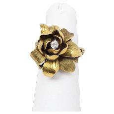 Art Nouveau Jasmine Flower Statement Heavy 14K Gold and Diamond Ring