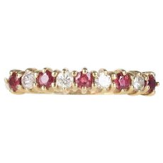 Natural Ruby and Diamond Alternating 14K Gold Wedding Band Stacking Ring