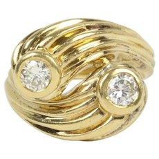 Vintage 0.70 Carat Diamond Bypass 18K Gold Ring