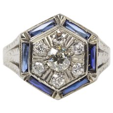 Art Deco Diamond Cluster and Sapphire 18K Gold Hexagonal Ring
