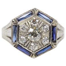 Art Deco Diamond Cluster and Sapphire 18K Gold Hexagonal Ring