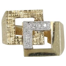 Vintage 14K Gold and Diamond Cubic Geometric Statement Ring
