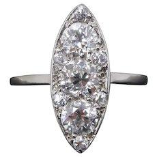 Art Deco 1.5 Carat Diamond Navette Platinum Anniversary Engagement Ring