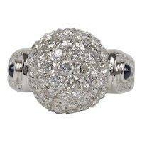 Vintage 2 Carat Diamond Bombe Disco Ball 18K Gold Sapphire Ring