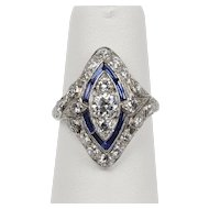 Art Deco 1.3 Carat Diamond and Sapphire Platinum Navette Marquise Shape Ring