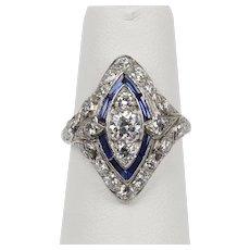Art Deco 1.3 Carat Diamond and Sapphire Platinum Navette Marquise Shape Ring