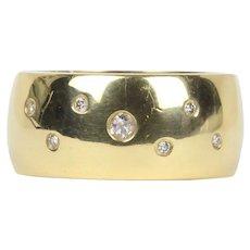Diamond Polka Dot 18K Gold Stacking Ring Wedding Band