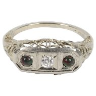 Art Deco Diamond and Bloodstone Filigree 18K Gold Three Stone Ring