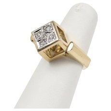 Funky Cube Three Dimensional 14K Gold and Diamond Statement Ring