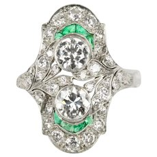 Art Deco Platinum 2.4 Carat Diamond and Calibre Cut Emerald Navette Statement Ring