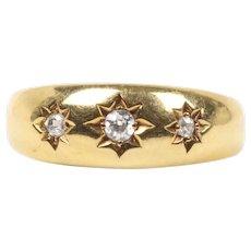 Victorian Circa 1878 18K Gold Three Stone Gypsy Diamond English Ring Band