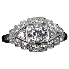 Art Deco 1.02 Carat Diamond and 14K Gold Navette Shaped Engagement Ring