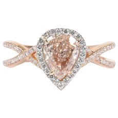 Rare GIA Certified Natural 1 Carat Pink Diamond and 18K Gold Platinum Engagement Ring