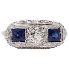 Art Deco Old Mine Cut Diamond and Sapphire 14K Gold Filigree Three Stone RIng