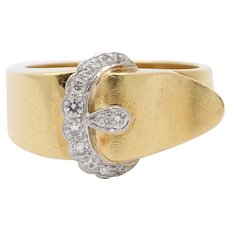 Vintage 18K Gold Platinum and Diamond Buckle Ring Band