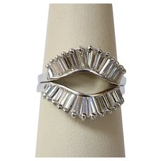 Vintage 1.9 Carat Tapered Baguette Diamond and 14K Gold Evil Eye Ring