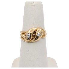 Vintage English Circa 1950 18K Gold Double Snake Head Diamond Ring, Stacking Band