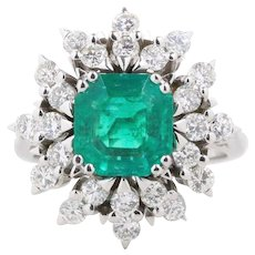 GIA Certified Colombian Emerald and Diamond Cluster Sunburst 18K Gold Cocktail Ring