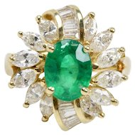 Natural Emerald and 2.2 Carat Diamond 18K Gold Cocktail Ring