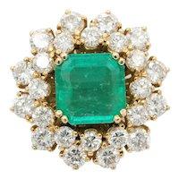 Vintage 3.6 Carat Emerald and 4.8 Carat Diamond 18K Gold Dinner Ring
