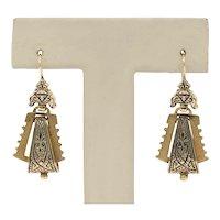 Victorian 14K Gold and Black Enamel Dangle Earrings