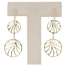 Frederic Sage 18K Gold Diamond Leaf Motif Dangling Earrings
