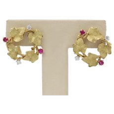 Vintage 18K Gold Ruby and Diamond Ivy Wreath Circle Earrings