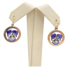 Art Nouveau 14K Gold and Diamond Enamel Violet Pansy Dangling Earrings