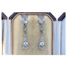 Art Deco Long Diamond and Sapphire Drop 14K Gold Earrings