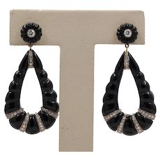 Vintage 18K Gold Carved Onyx and Diamond Dangling Earrings