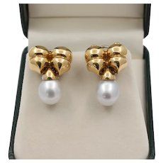 Vintage 18K Gold 13mm South Sea Pearl Drop Bow Shaped Earrings, Bridal Clips