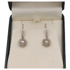 Edwardian Old Cut Diamond 18K Gold Flower Dangling Earrings, Floral Drops