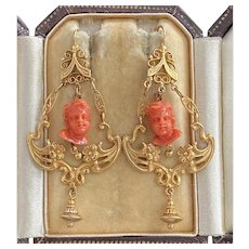 Victorian Carved Coral Putti, 14K Gold Chandelier Drop Statement Earrings