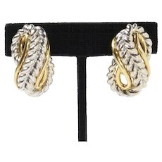 Heavy Two-Tone 18K Gold Braided Knotted Design Clip Earrings