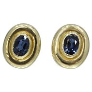 GIA No Heat Natural Sapphire 14K Gold Bezel Set Earring Clips