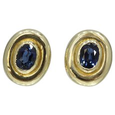 GIA No Heat Natural Sapphire 14K Gold Bezel Set Earring Clips