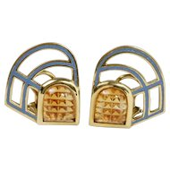 Vintage Manfredi 18K Gold Carved Citrine and Blue Enamel Vintage Clip Earrings